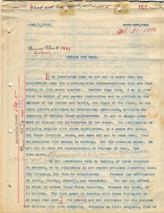 Exhibit 11. Manuscript 20, 1906, p,1, showing Ellen White's apporval at the top of the page _I have read this carefully and accept it._
